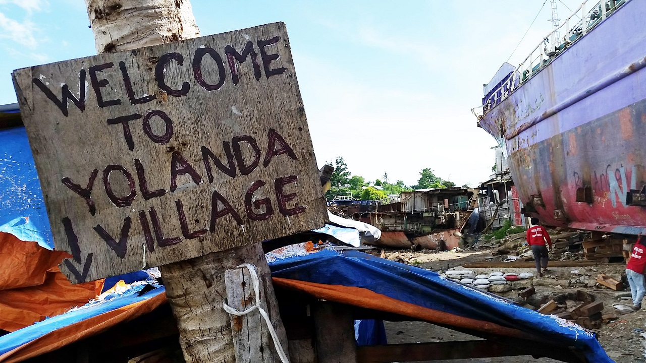 A sign welcoming you to the storm struck village of Yolanda in the Philippines