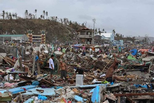 Homes left wrecked by the effects of Typhoon Yolanda in the Philippines