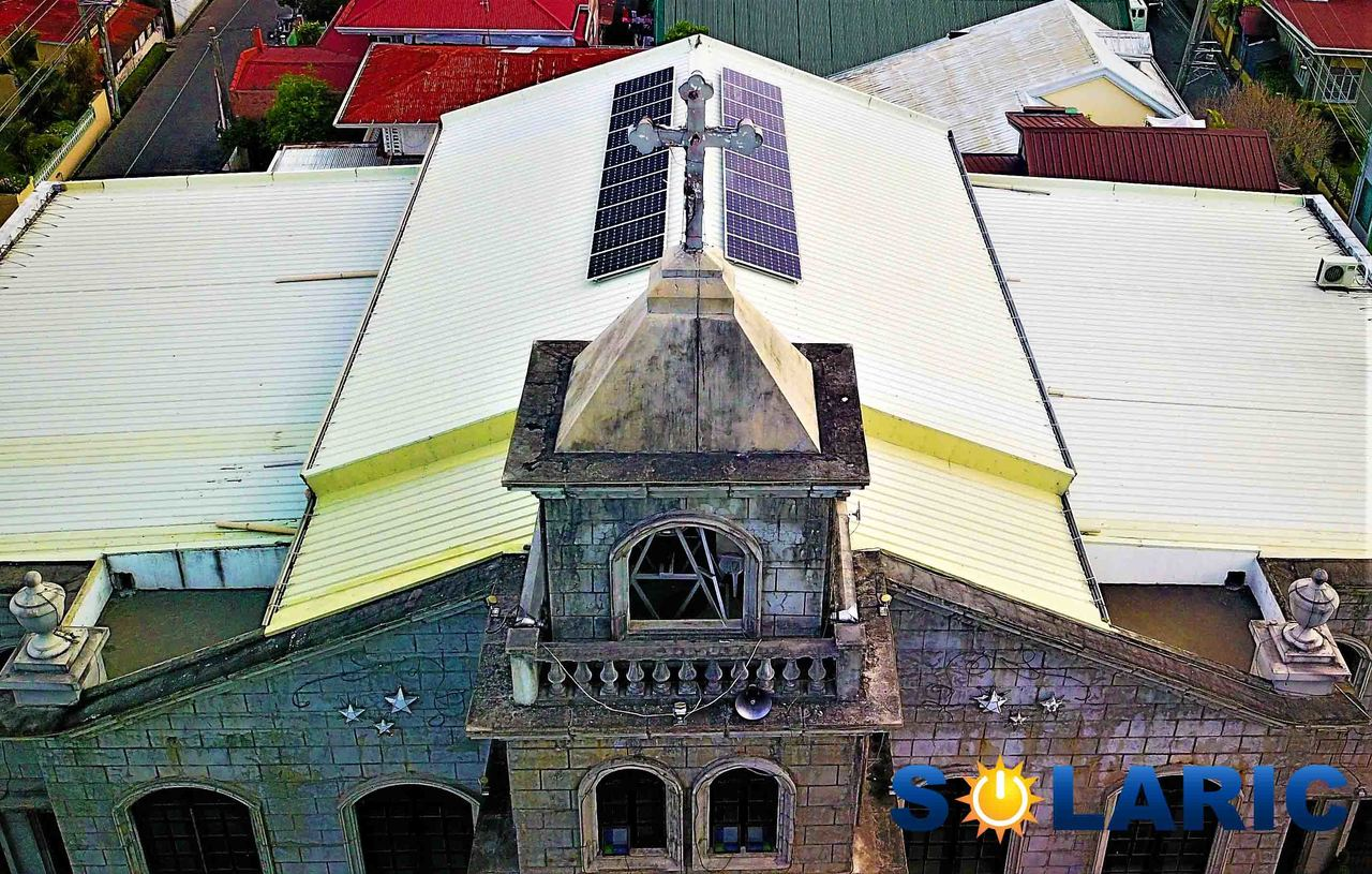 Solar on top of a church in Balanga, Bataan Philippines