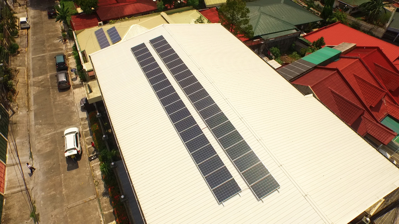 Top view of a structure with solar panels