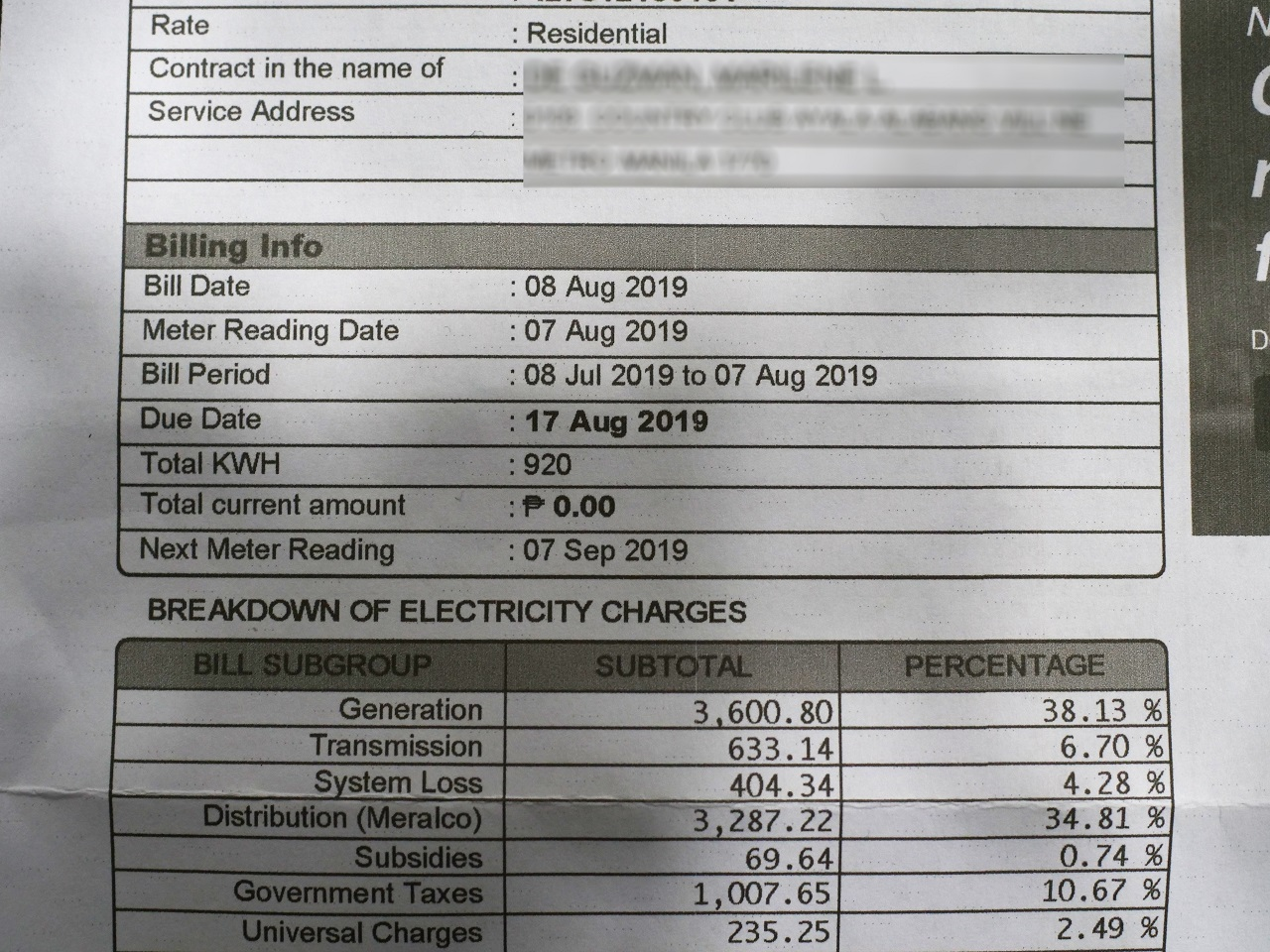 Close up of a zero electricity bill
