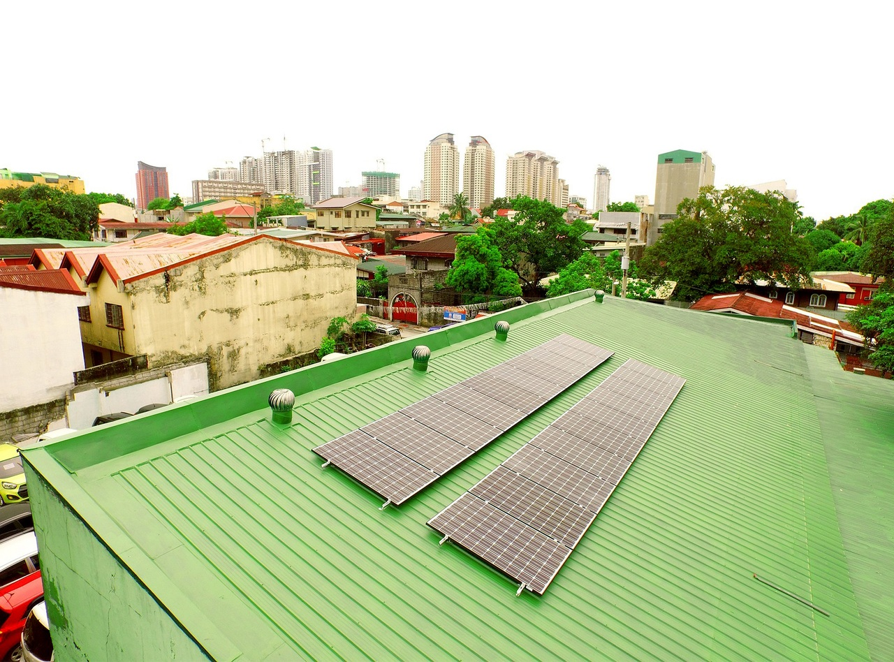 A green roof with solar panels