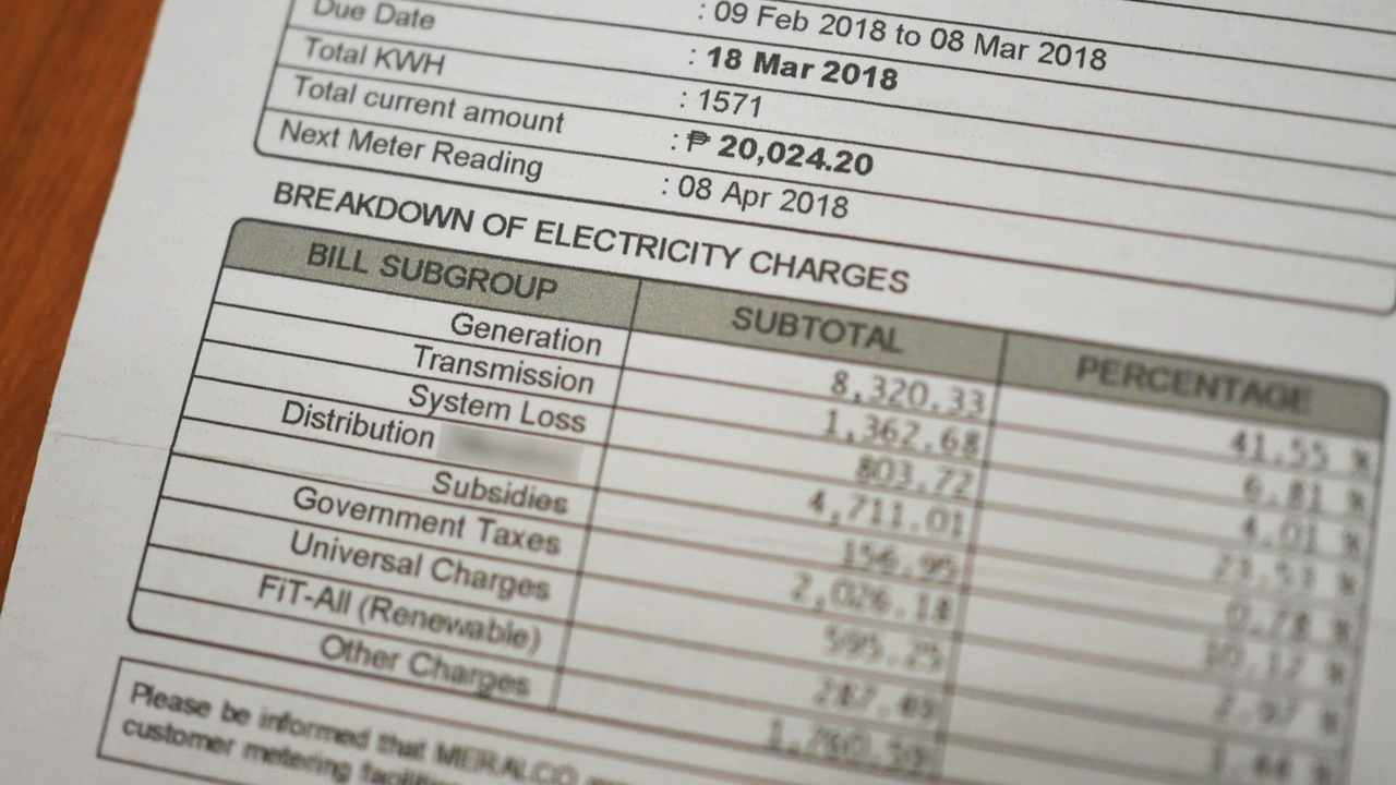Close up of an electricity bill