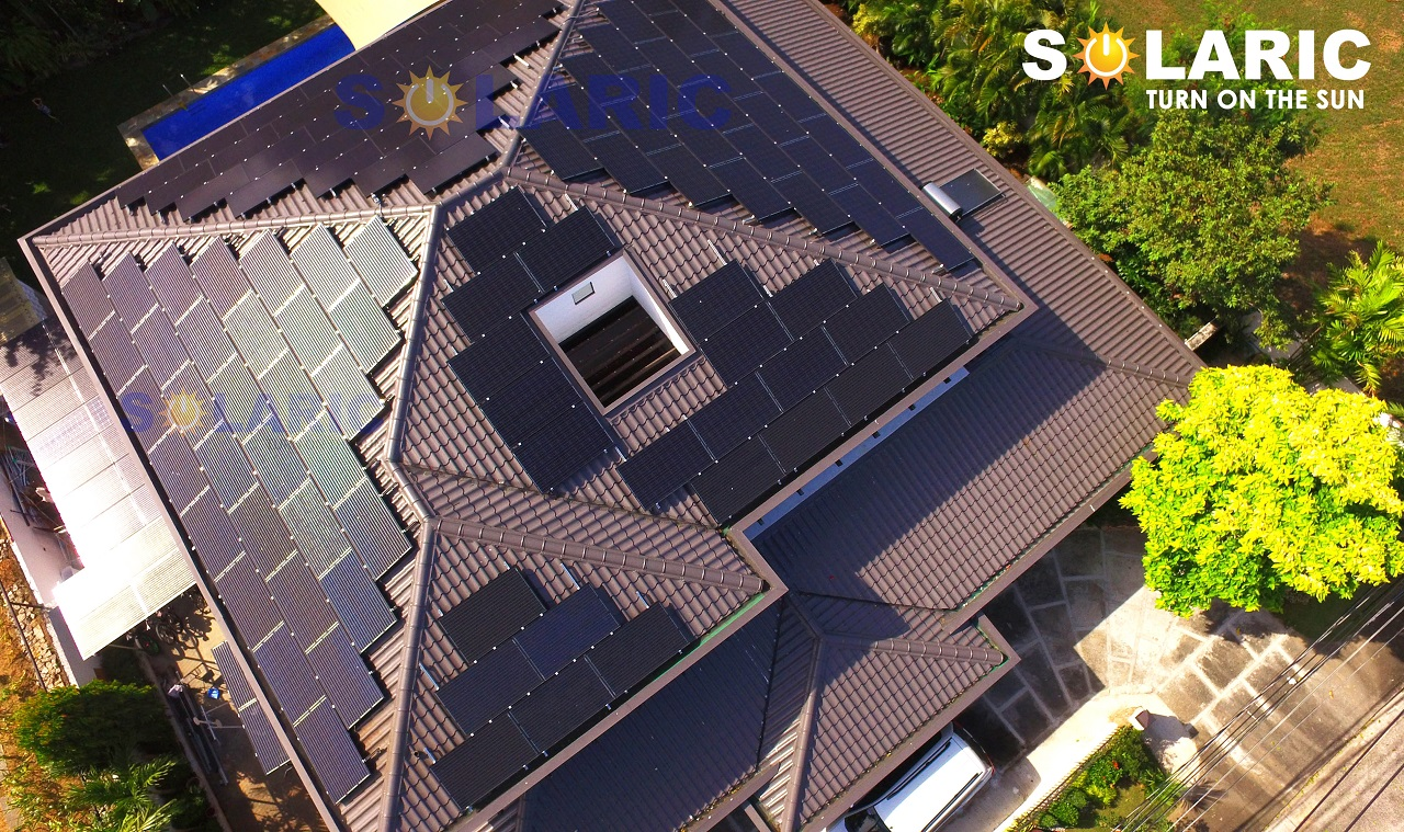 Top shot of a rooftop with solar panels