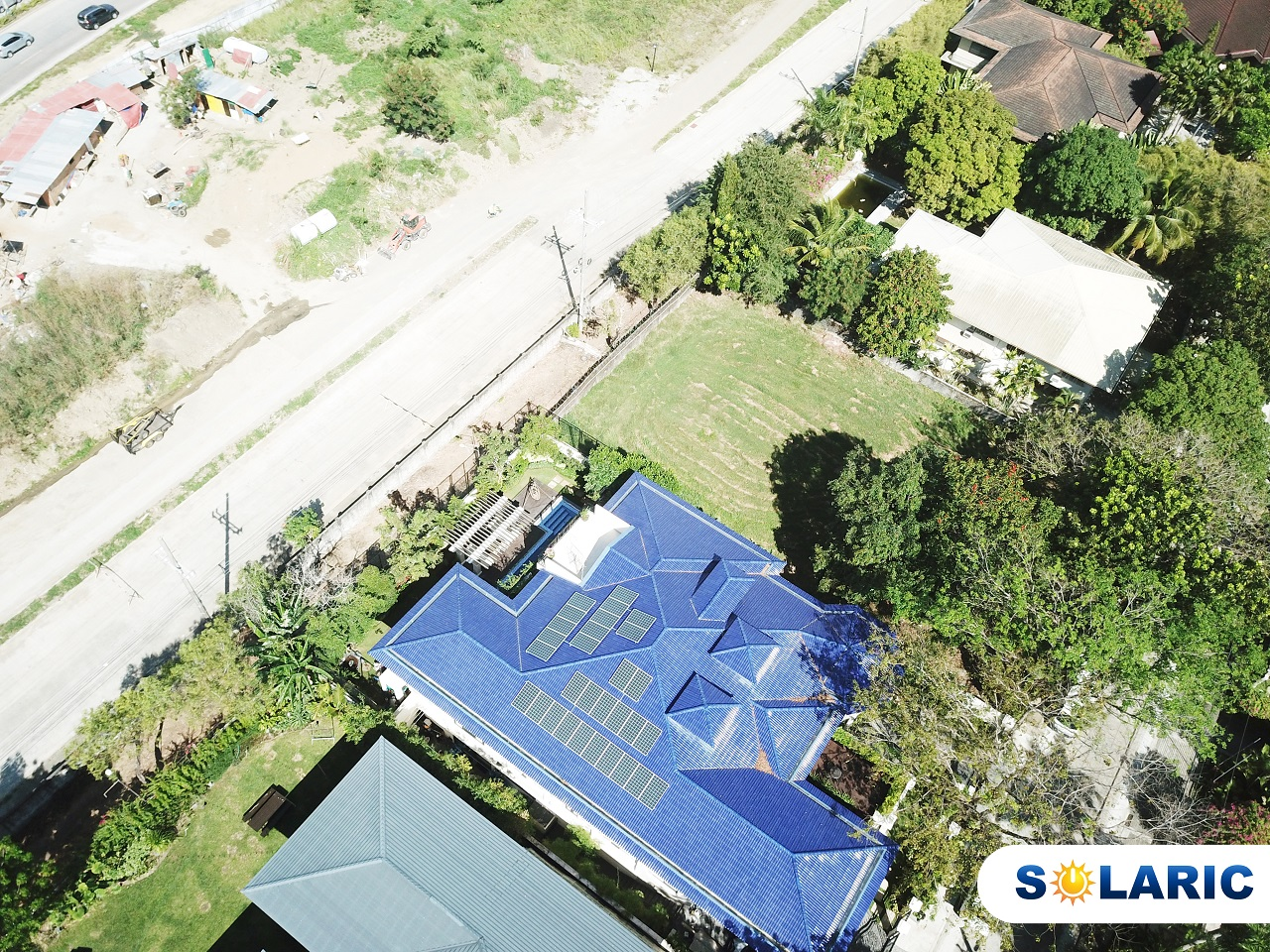 Top shot of a house in the Philippines with solar