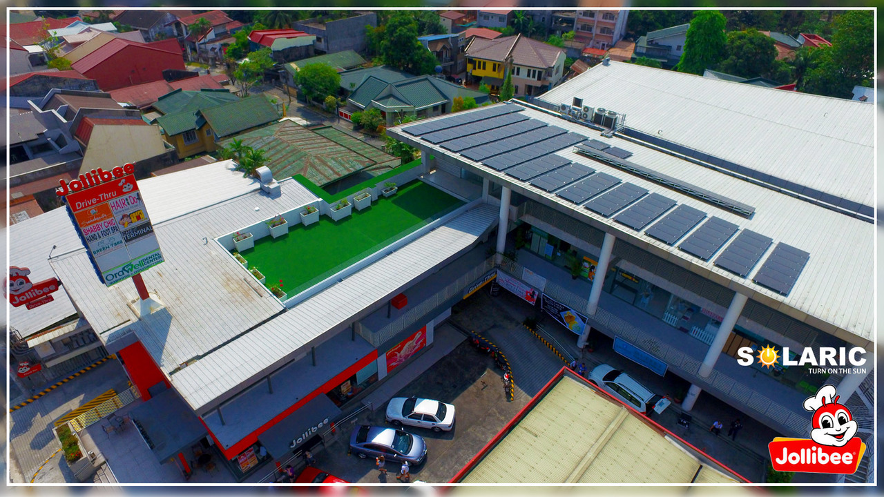Commercial building with rooftop solar panels