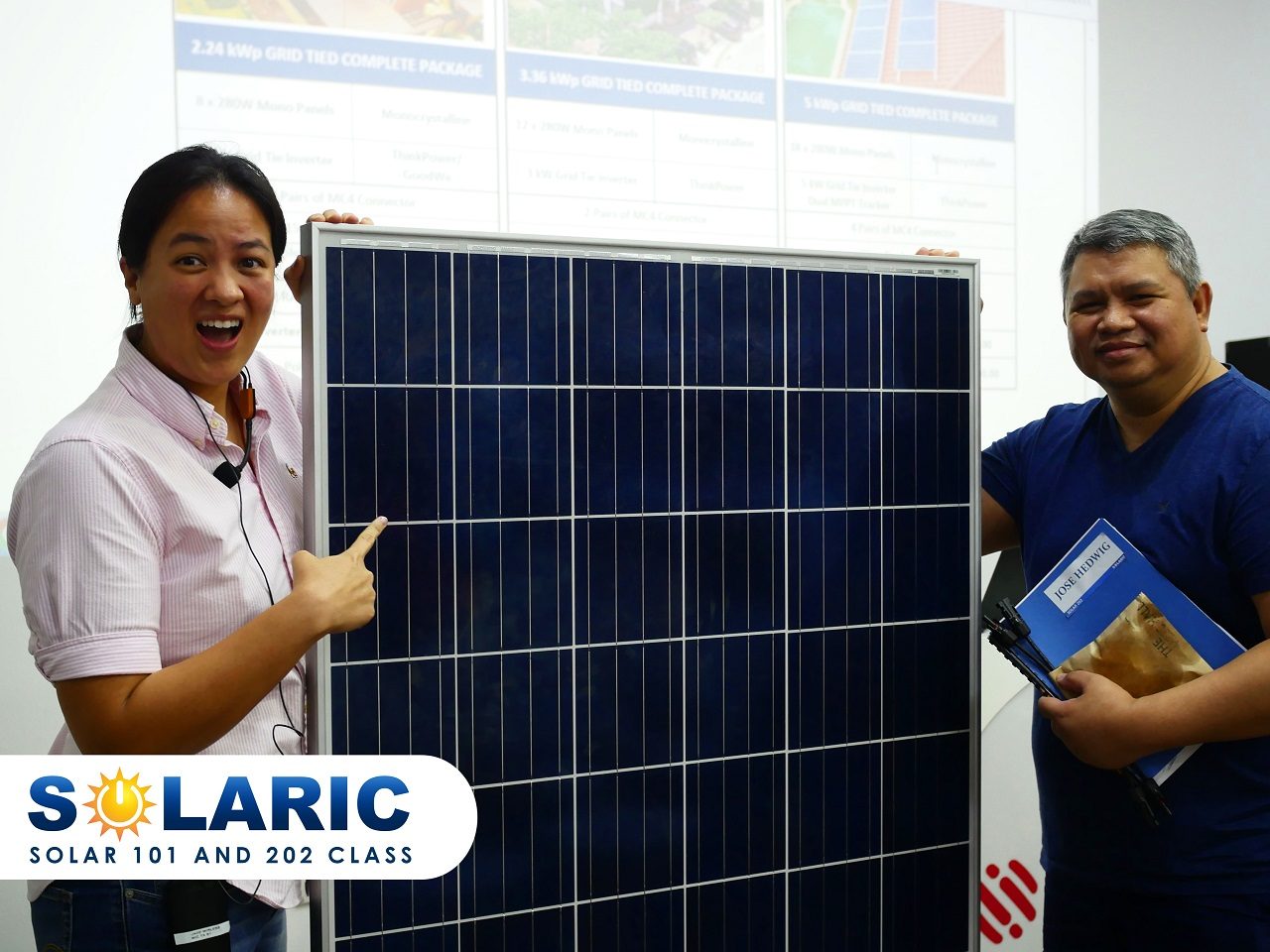 Two professionals at a solar class