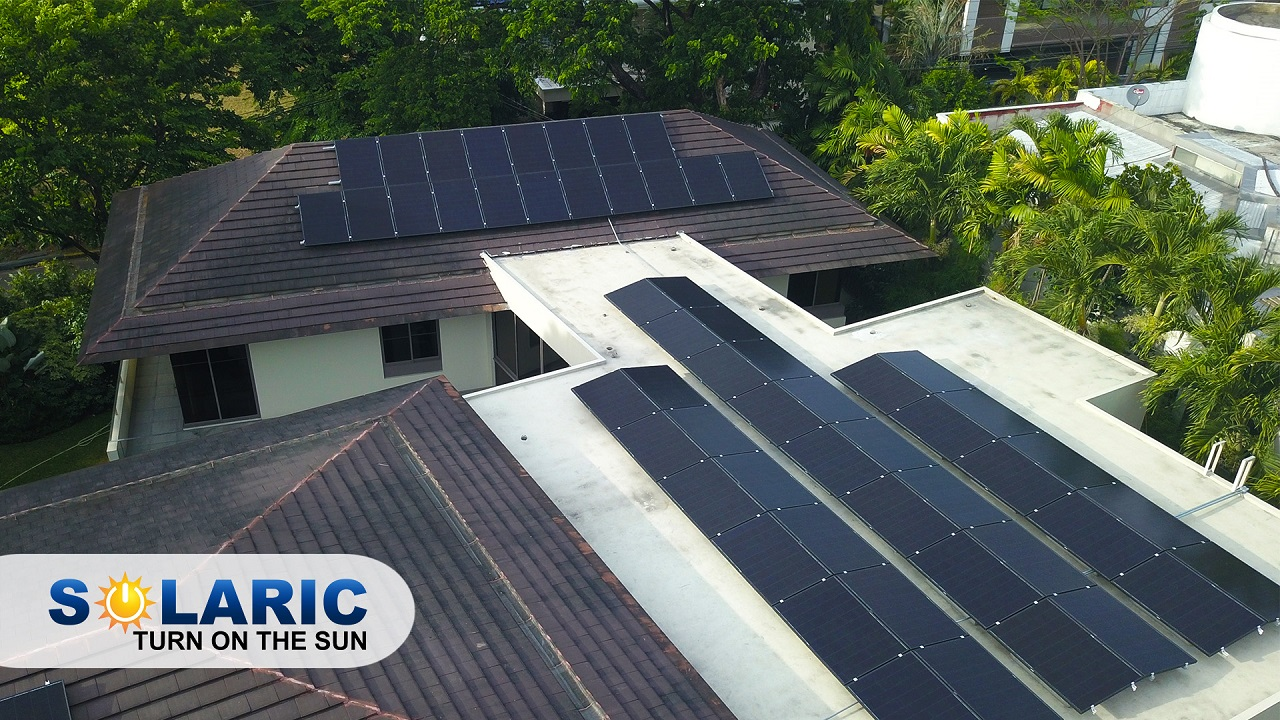 A rooftop with solar panels