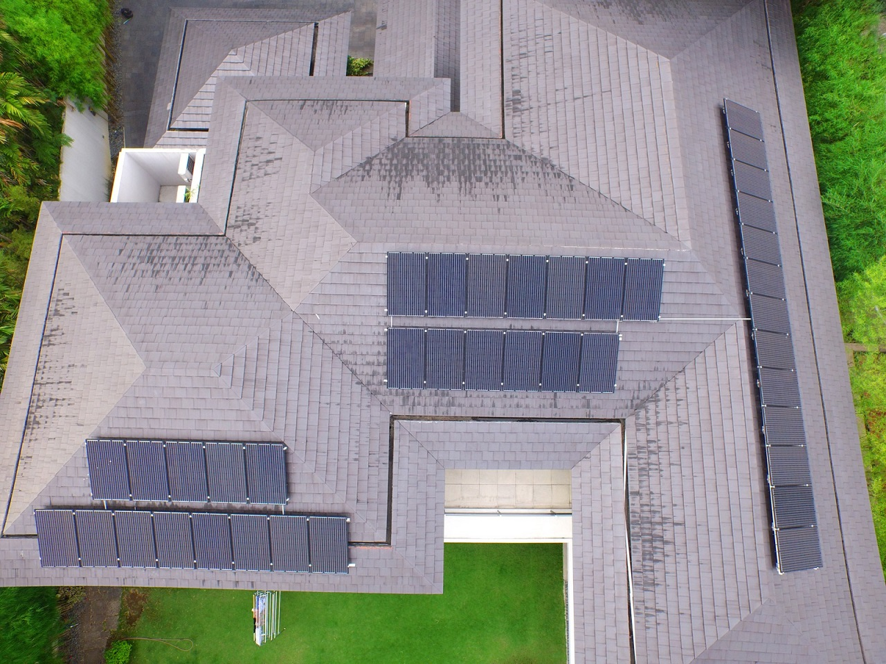 Top view of a home with solar panels