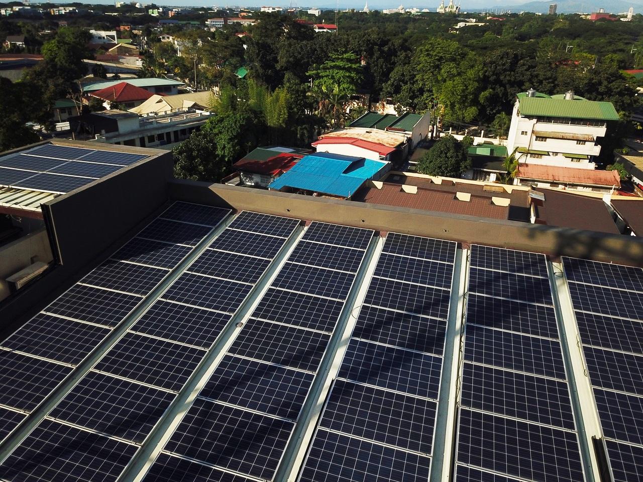 A solar panel blocked by shade