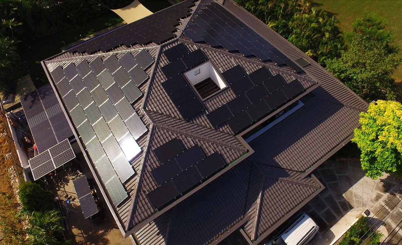 Top view of a home with solar systems