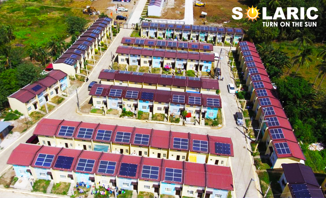 Townhouses with solar panels