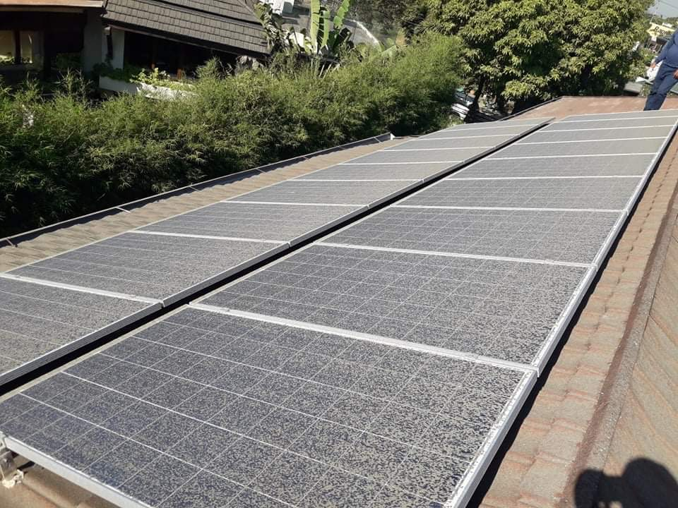 Accumulated dust and debris on a solar panel