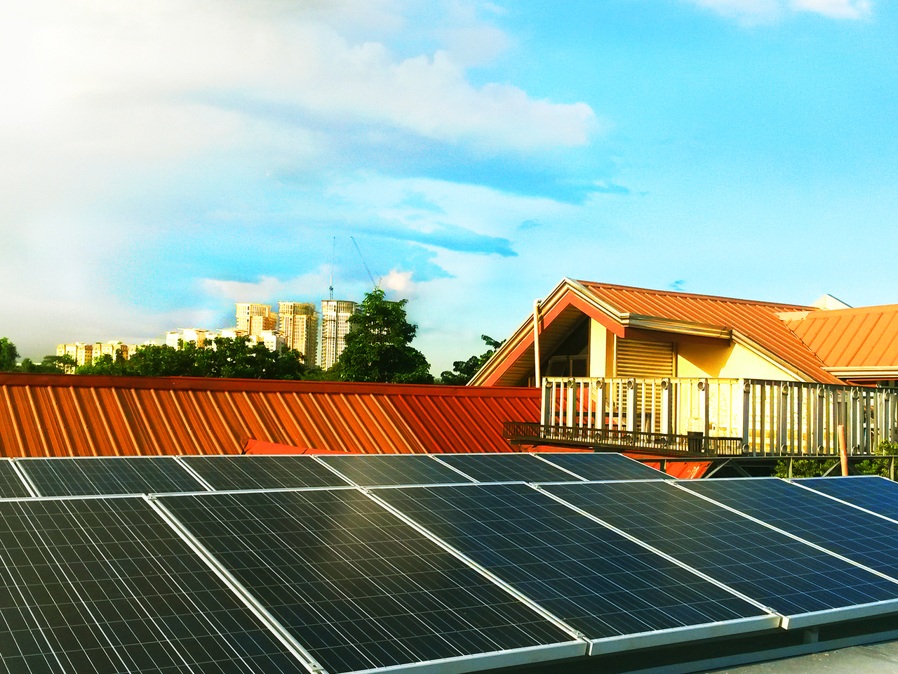 Close up of a home's rooftop with solar