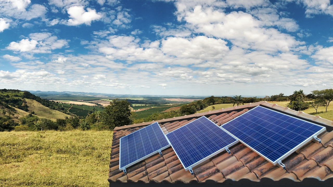 Solar powers on top of a house in a province