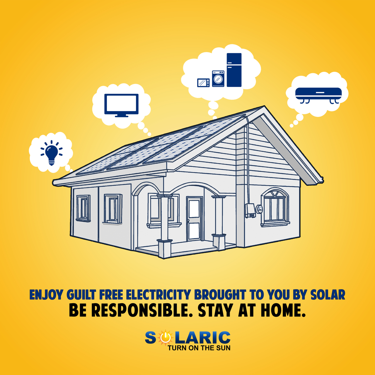 Graphics of a home with solar panels from Solaric