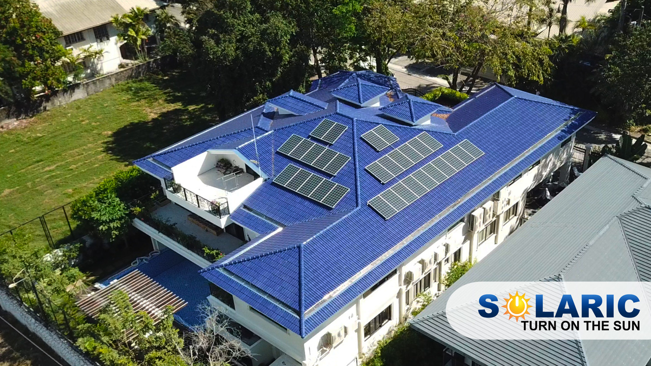 A home's rooftop with solar panels