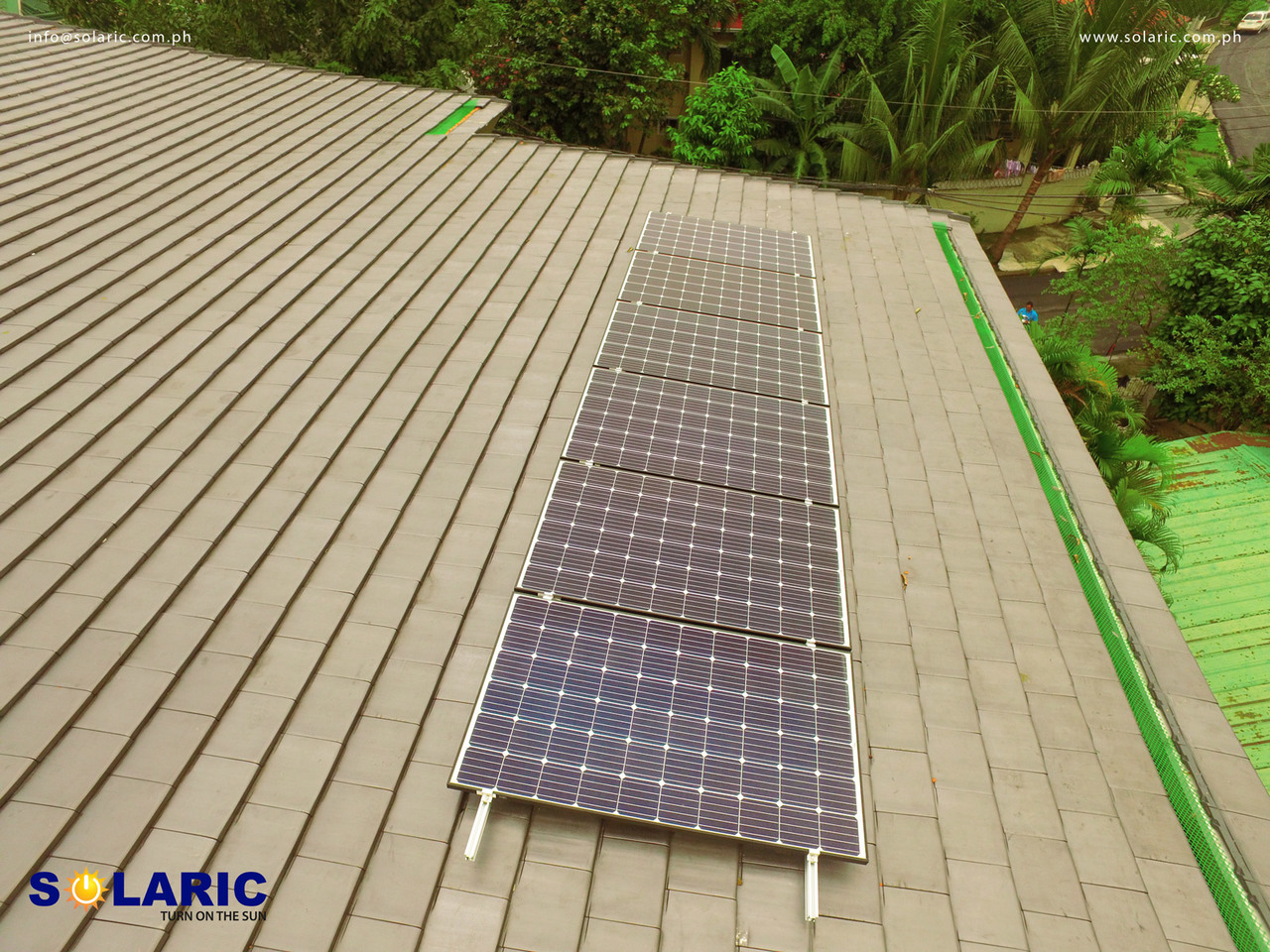 Close up of solar panels on a roof