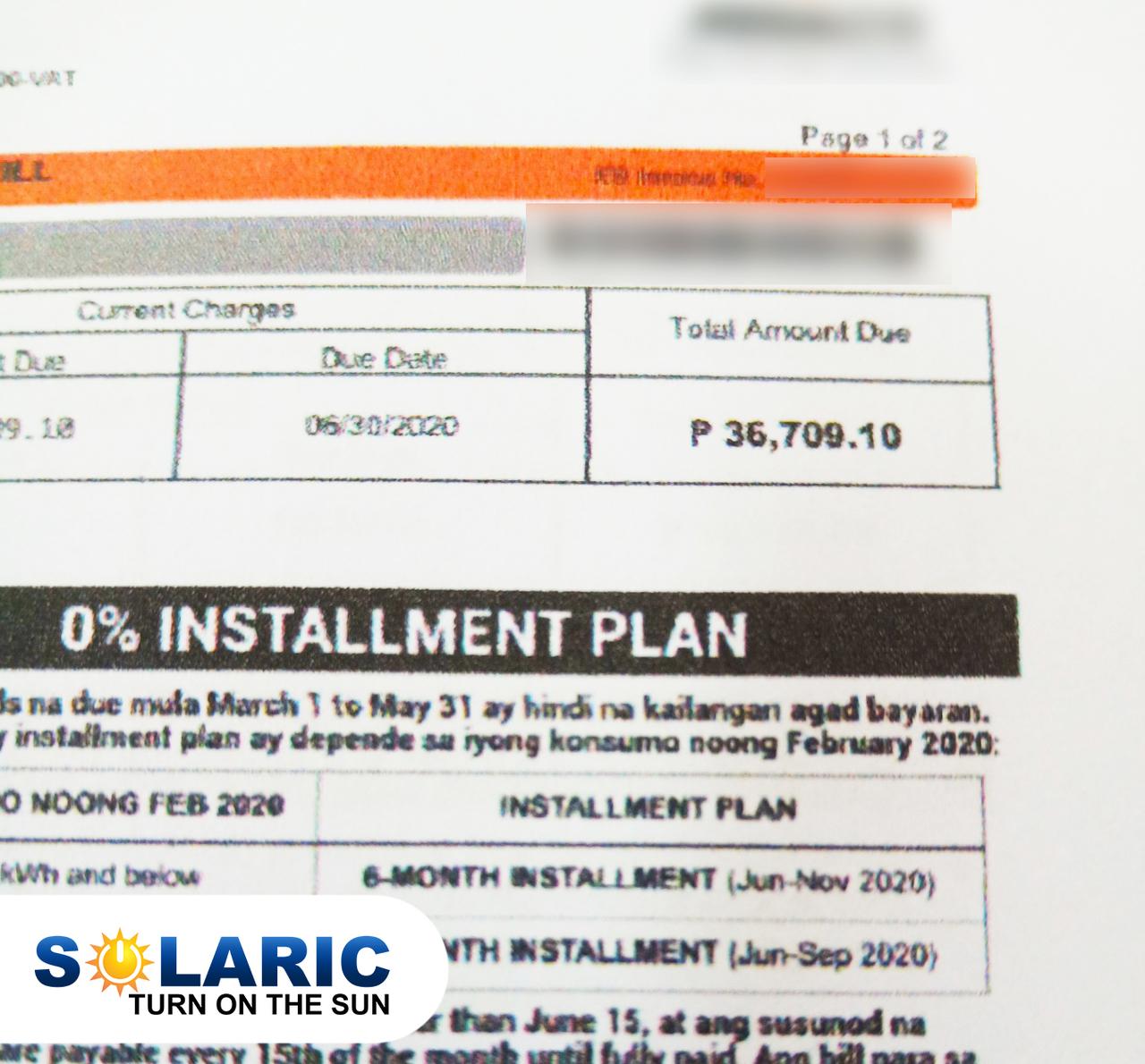 An electricity bill pre-solar