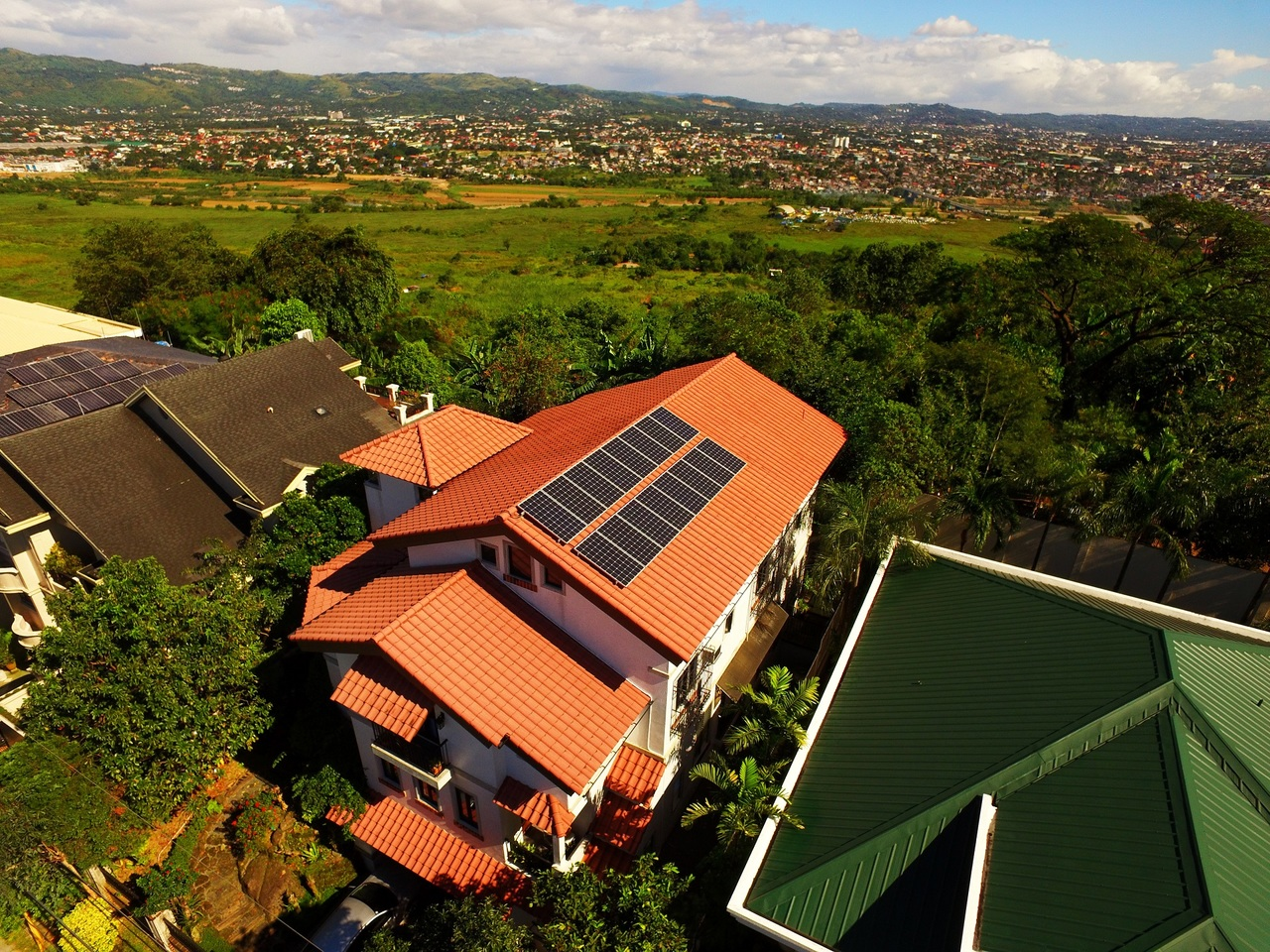 Top view of a house with solar