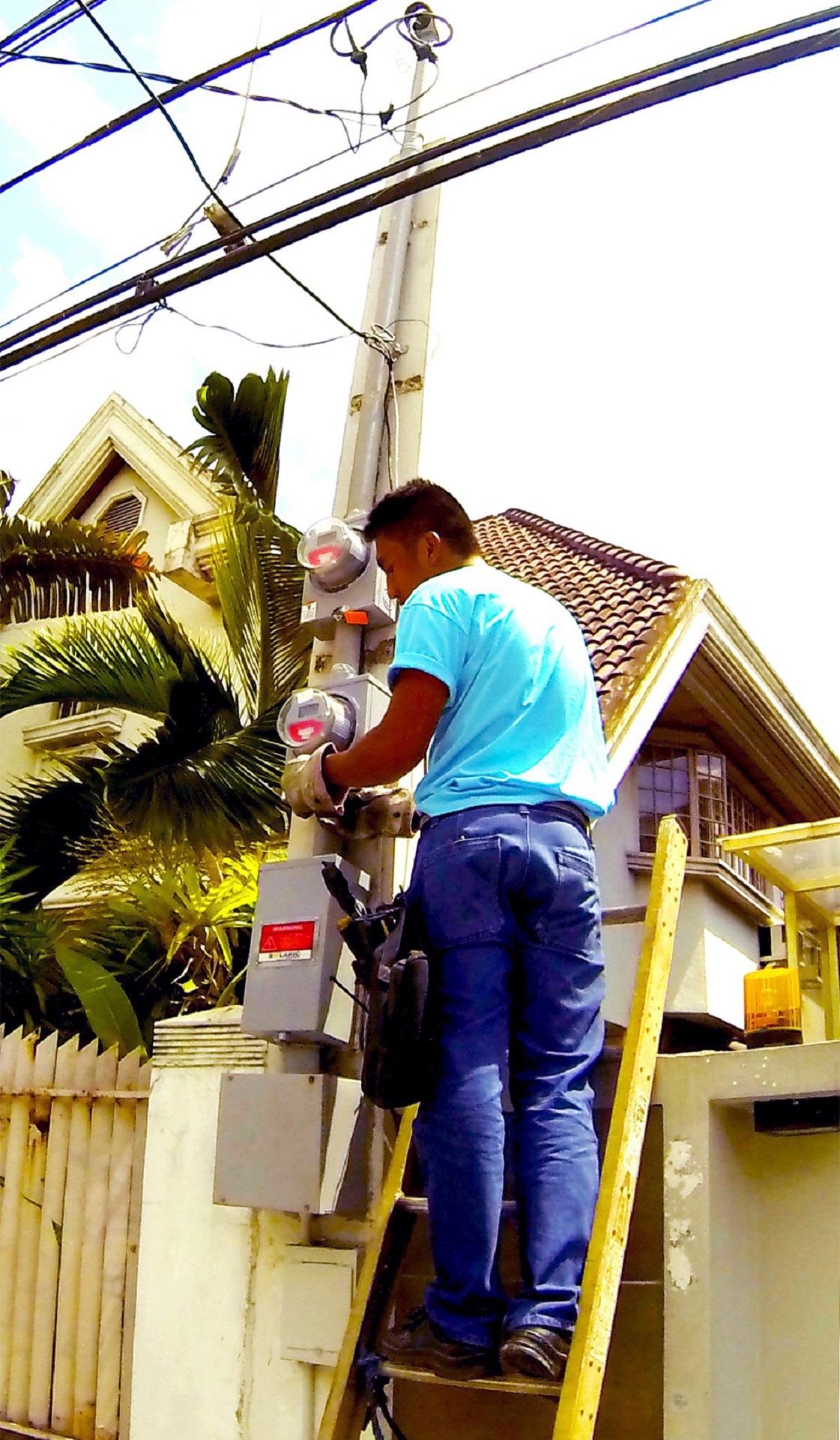 Man installing net metering