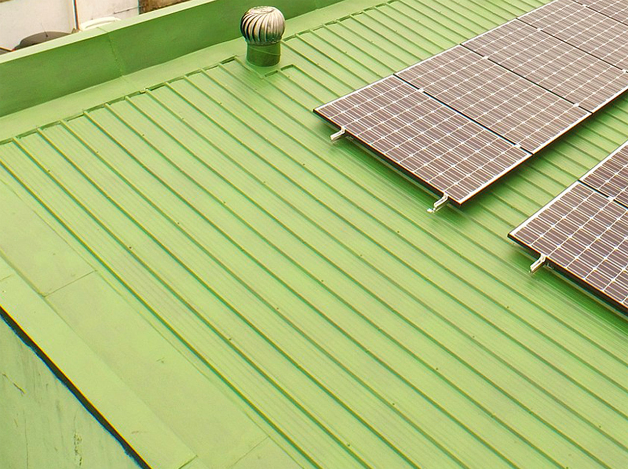 A photo of solar grids on a roof