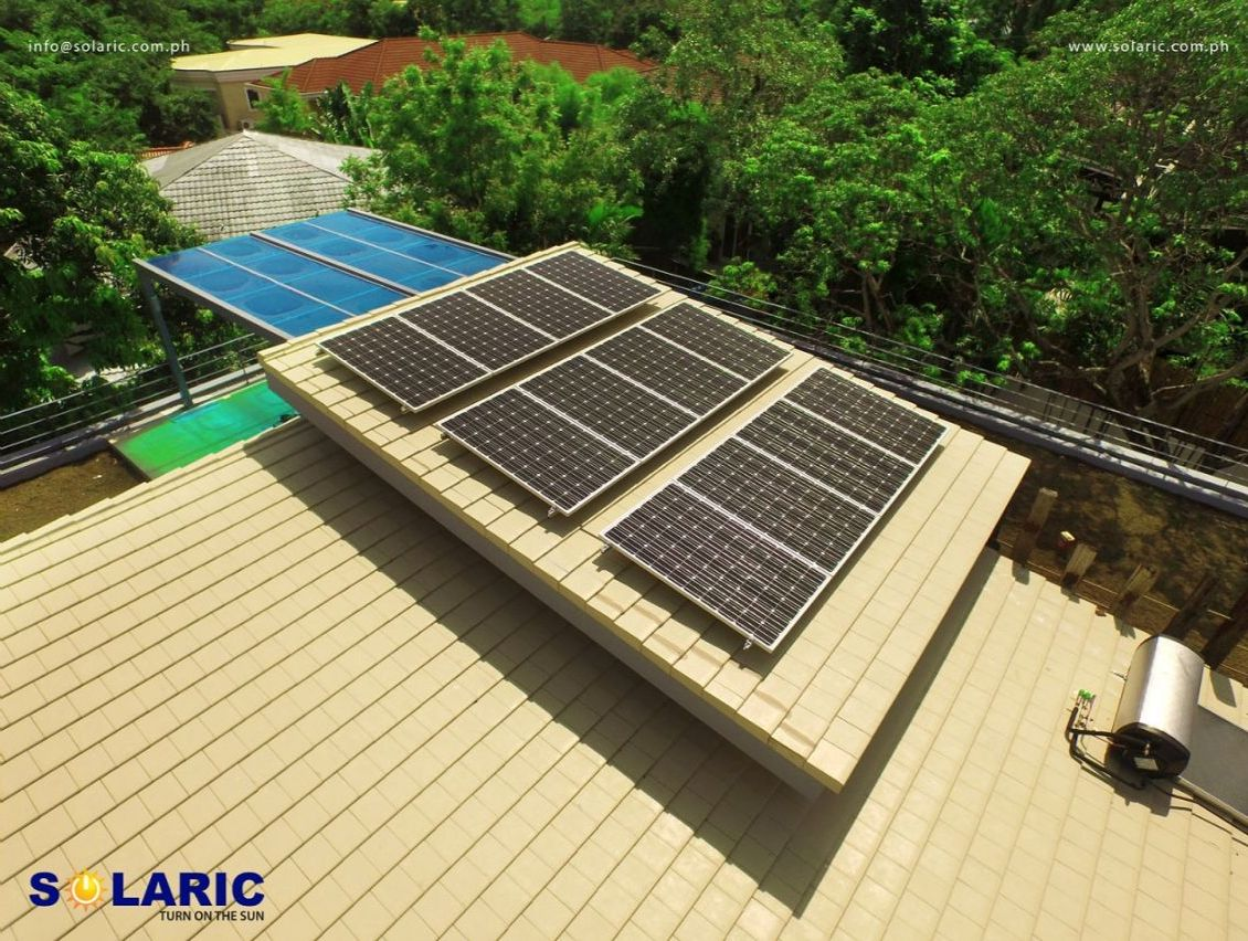 Roof space with solar panels