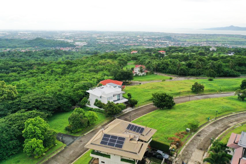 Top view of home with solar grid